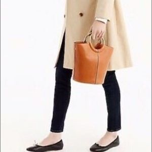 Tan leather with Brass handles bucket bag